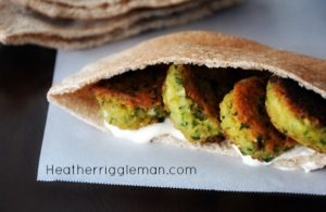 Falafel Veggie Pitas with Cucumber Yogurt Dressing
