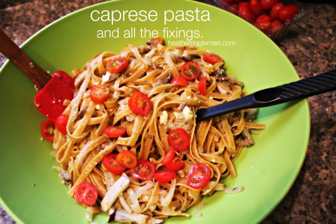 Caprese Pasta with Roasted Brussels Sprouts & Basil Garlic Breadsticks