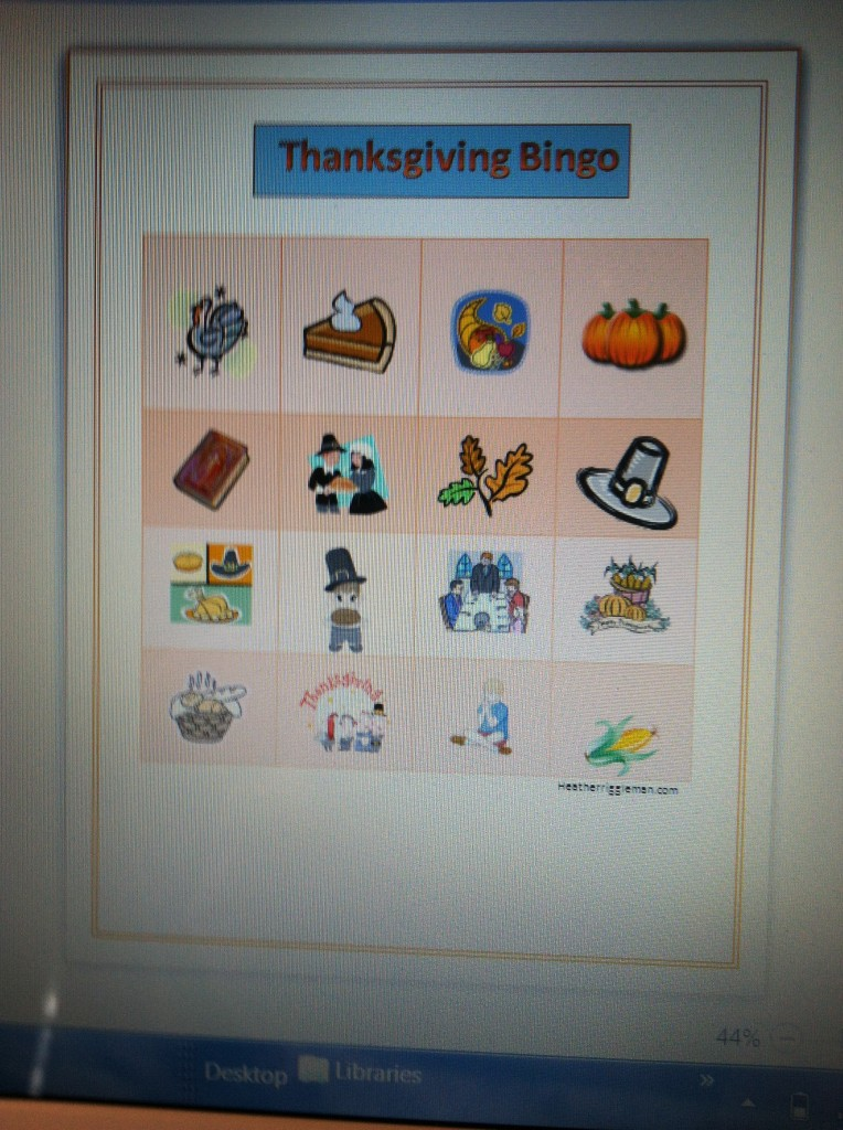 Turkey bingo